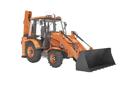 Universal construction equipment with front loading at the front and hydraulic bucket at the rear rear render on white background no shadow Фото со стока