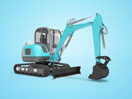 Construction machinery blue excavator with hydraulic mechlopatoy on crawler with bucket 3d render on blue background with shadow