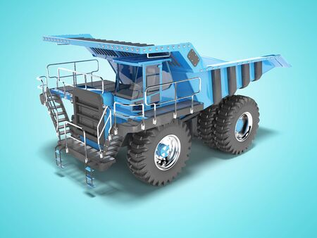 Modern blue mining truck with black accents perspective view rear render on blue background with shadow