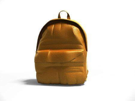 Orange leather teen backpack school 3d render on gray background with shadow