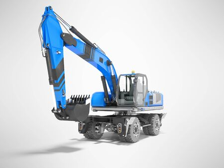 Blue excavator loader wheel isolated 3D render on gray background with shadow