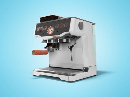 Modern metal horn coffee machine with milk dispenser and coffee tank with water tank 3D render on blue background with shadow