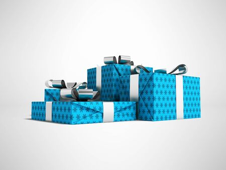 Group of gifts in box in blue paper with silver ribbons 3d render on gray background with shadow