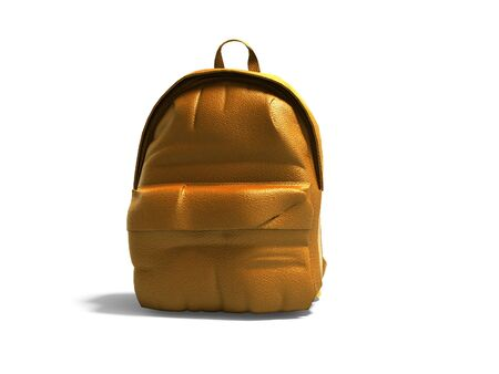 Orange leather teen backpack school 3d render on white background with shadow