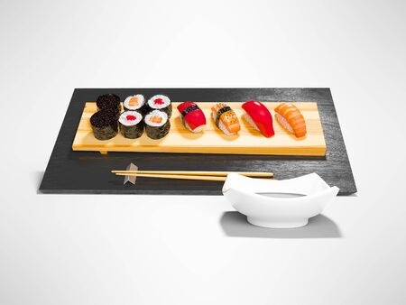 Sushi set on wooden stand with wooden chopsticks and sauce 3d render on gray background with shadow