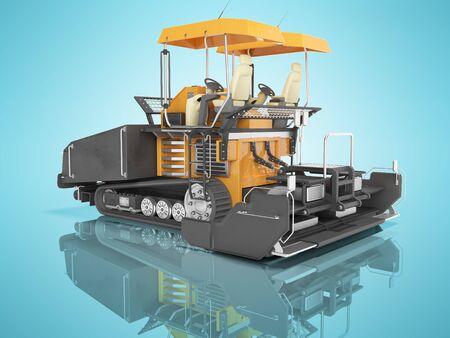 Pavimentadora de orugas de caucho naranja para el tendido de carreteras 3D Render sobre fondo azul con sombra Foto de archivo