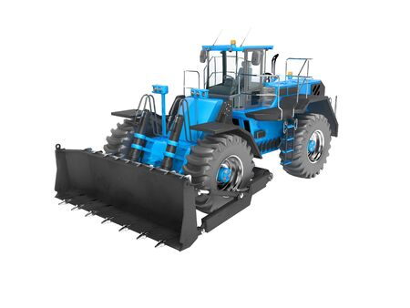 Blue wheeled dozer for quarrying isolated 3D render on white background no shadow