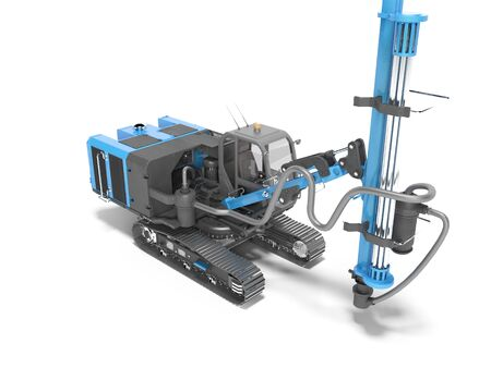 Blue self propelled drilling rig for the construction and laying of caterpillar track mounted magestralia 3d render on white background with shadow Stock fotó