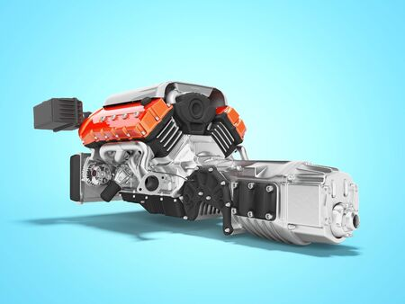 Car engine with air filters and manifold gearbox 3d render on blue background with shadow Stock fotó - 129488790