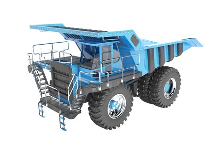Modern blue mining truck with black accents perspective view rear render on white background no shadow