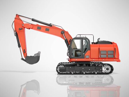 Road building red excavator on metal caterpillar track left side view 3d render on gray background with shadow Stock fotó
