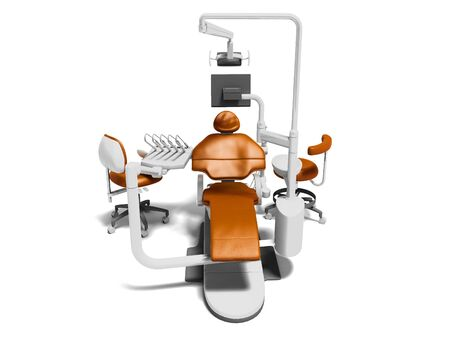 Dental unit orange leather chair of dentist doctor and high chair assistant front view 3d render on white background with shadow 스톡 콘텐츠
