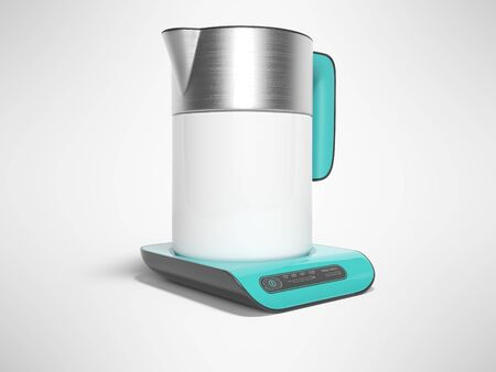Ceramic with metal inserts electric kettle on blue stand isolated 3D render on gray background with shadow 写真素材