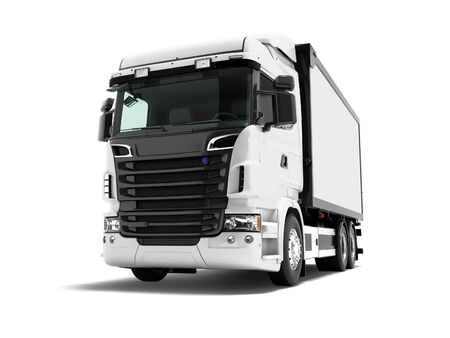 White truck with black inserts with carrying capacity of up to five tons rear view 3d render on white background with shadow