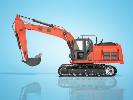 Road building red excavator on metal caterpillar track left side view 3d render on blue background with shadow