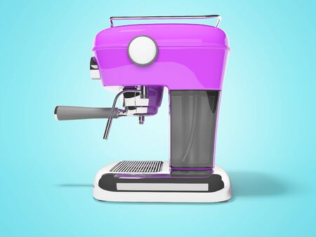 Modern purple horn coffee machine left view with water tank 3D render on blue background with shadow Фото со стока
