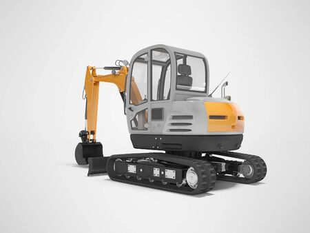 Orange mini excavator with hydraulic crawler mehlopatoy with bucket rear view 3d render on gray background with shadow
