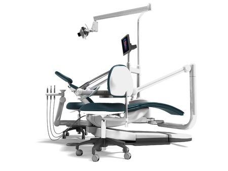 Dental unit and equipment for the office chair of the dentist and assistant assistants high chair 3d render on white background with shadow