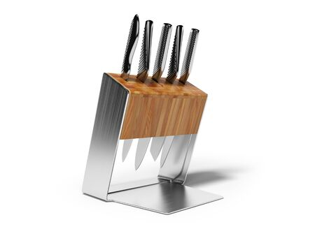 Set of metal knives in wooden stand with metal inserts 3D render on white background with shadow