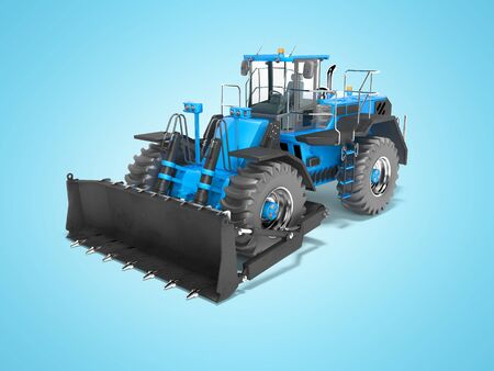 Blue wheeled dozer for quarrying isolated 3D render on blue background with shadow