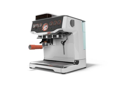Modern metal horn coffee machine with milk dispenser and coffee tank with water tank 3D render on white background with shadow