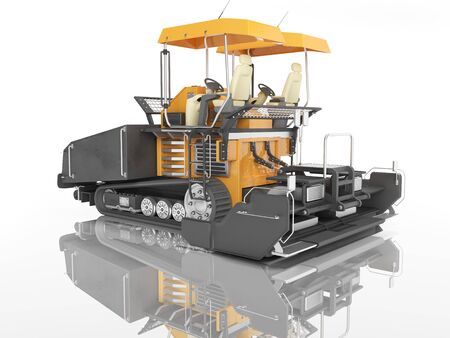 Orange rubber tracked paver for laying roads 3D render on white background with shadow Reklamní fotografie