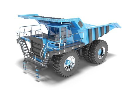 Modern blue mining truck with black accents perspective view rear render on white background with shadow Stockfoto