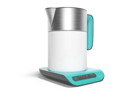 Ceramic with metal inserts electric kettle on blue stand isolated 3D render on white background with shadow Stok Fotoğraf - 129487031