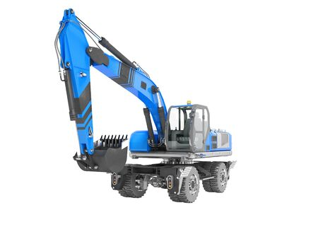 Blue excavator loader wheel isolated 3D render on white background no shadow