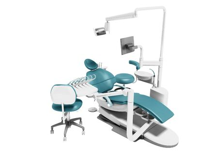 Dental unit blue leather chair of dentist and an assistants chair 3d render on white background no shadow