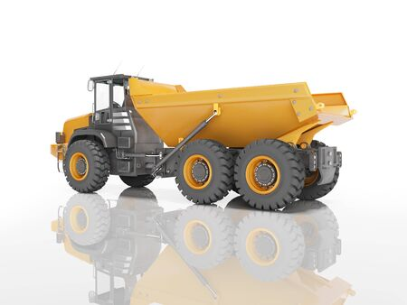 Orange mining dump truck isolated rear view 3D render on white background with shadow