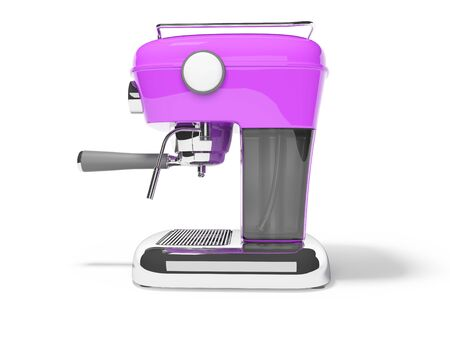 Modern purple horn coffee machine left view with water tank 3D render on white background with shadow