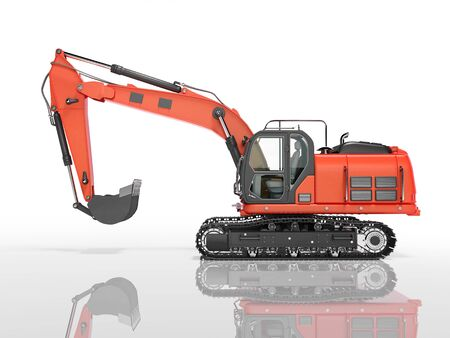 Road building red excavator on metal caterpillar track left side view 3d render on white background with shadow