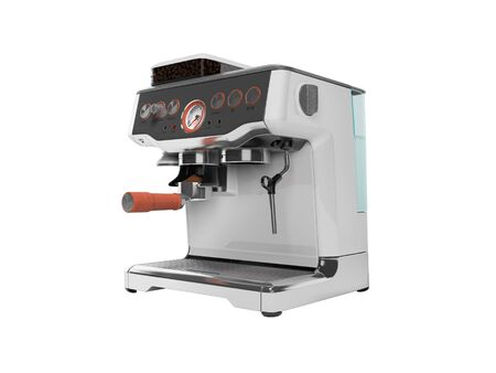 Modern metal horn coffee machine with milk dispenser and coffee tank with water tank 3D render on white background no shadow