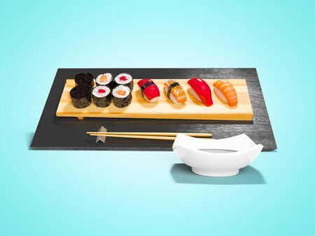 Sushi set on wooden stand with wooden chopsticks and sauce 3d render on blue background with shadow