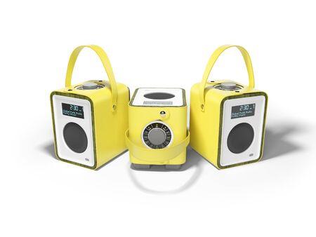 Columna multifuncional portátil en encuadernación de cuero amarillo 3D Render sobre fondo blanco con sombra
