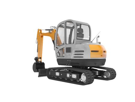 Orange mini excavator with hydraulic crawler mehlopatoy with bucket rear view 3d render on white background no shadow