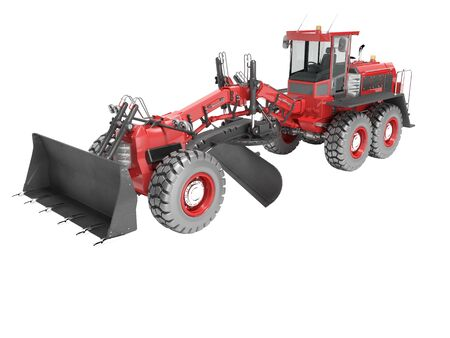 Construction machinery red grader for leveling roads for asphalt road isolated 3d render on white background no shadow