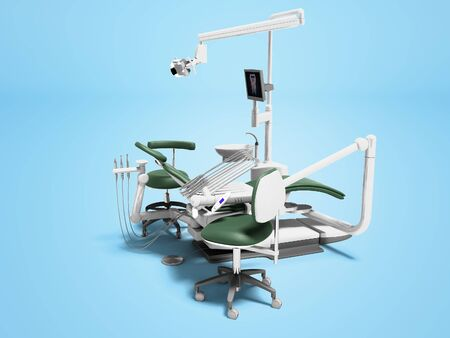 Dental unit green leather chair of dentist doctor and assistants chair 3d render on blue background with shadow Stockfoto