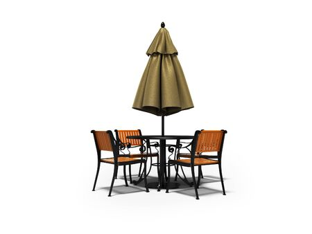 Closed umbrella for restaurant on central pillar with round table 3D render on white background with shadow