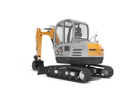 Orange mini excavator with hydraulic crawler myelopathy with bucket rear view 3d render on white background with shadow