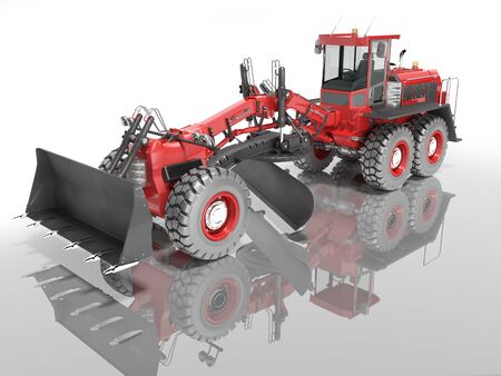 Construction machinery red grader for leveling roads for asphalt road isolated 3d render on white background with shadow