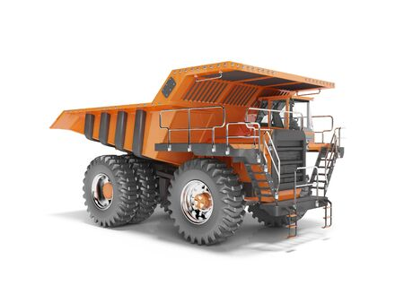 Construction machinery orange mining truck isolated 3D render on white background with shadow
