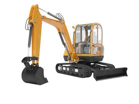 Orange mini excavator with hydraulic mechlopata with leveling bucket in motion 3d render on white background no shadow