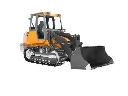 Construction machinery orange crawler excavator for lifting cargo in front 3D render on white background no shadow