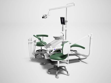 Dental unit green leather chair of dentist doctor and assistants chair 3d render on gray background with shadow