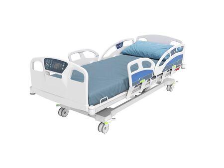 Cama de hospital azul con mecanismo de elevación en un panel de control autónomo con panel de control render 3d aislado sobre fondo blanco sin sombra