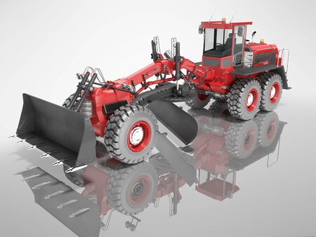 Construction machinery red grader for leveling roads for asphalt road isolated 3d render on gray background with shadow