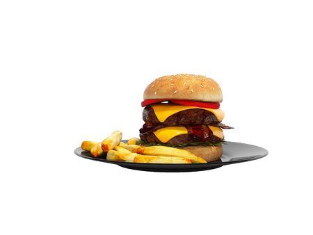 Hamburguesa y patatas al horno en la placa 3D Render sobre fondo blanco sin sombra