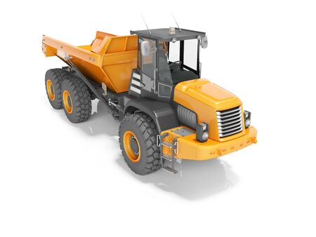 Construction machinery orange quarry truck for transportation of large stones 3D render on white background with shadow